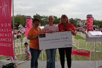 Receiving $100,000 check from Avon Walk for Breast Cancer are (L to R): Elizabeth Hernandez, UTMB Cancer Center, Staci Adams, UTMB director of development and Barbara Plasek, UTMB Cancer Center.