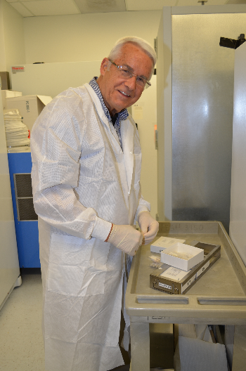 Dr. Robert B. Tesh works with virus samples from UTMB's World Reference Center for Emerging Viruses and Arboviruses, the most extensive such collection in the world.