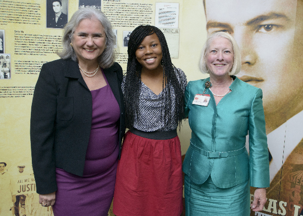 Dr. Hector Garcia's daughter, Cecilia Garcia Akers, Ariel M. Morrow and Dr. Betty Protas,vice president and dean of the UTMB School of Health Professions.