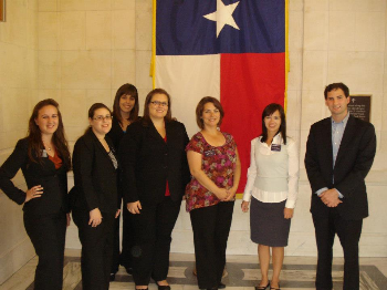 Students meet with Coalter Baker, legislative advisor to Senator Kay Bailey Hutchison.  From Left to right: Kara Kincaid, Emily Del Guidice, Jennifer Padilla, Jennifer Alexandris, Laretta Robinson, Sarah Barnett, Coalter Baker.