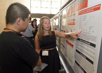 KarryAnne describes her research during the GSBS poster event.