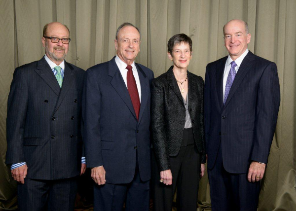 Pictured left to right:  Winfield Campbell Sr., chairman of the UTMB Development Board, Eugene and Gerry Honstein and David L. Callender, UTMB president.