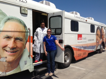 Atascocita Compton of the UTMB Blood Bank and Lindsey White, United Way at Blood drive for victims in West, Texas.