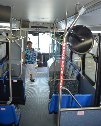 Lila Zuniga of Island Transit offered tours of the new shuttle buses at the Earth Day celebration at UTMB in April.