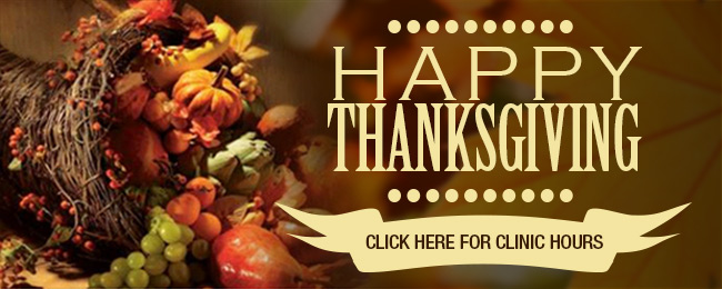 image linking to web page with thanksgiving clinic hours