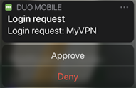A Duo login request displayed on an iPhone