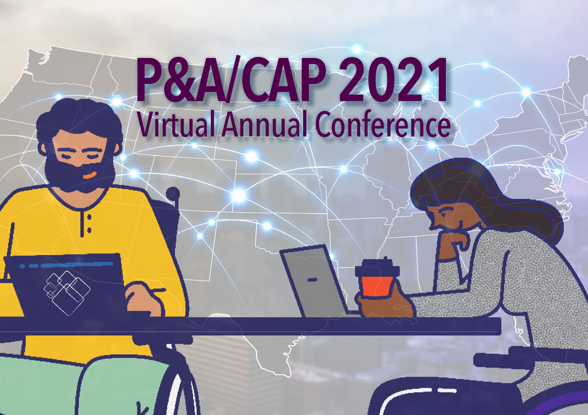 graphic with illustration of man and woman in wheel chairs using devices in front of a map of the US