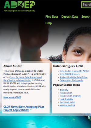 screen shot of ADDEP website