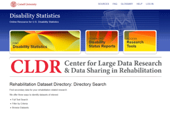 Rehabilitation Dataset Directory screen capture of website