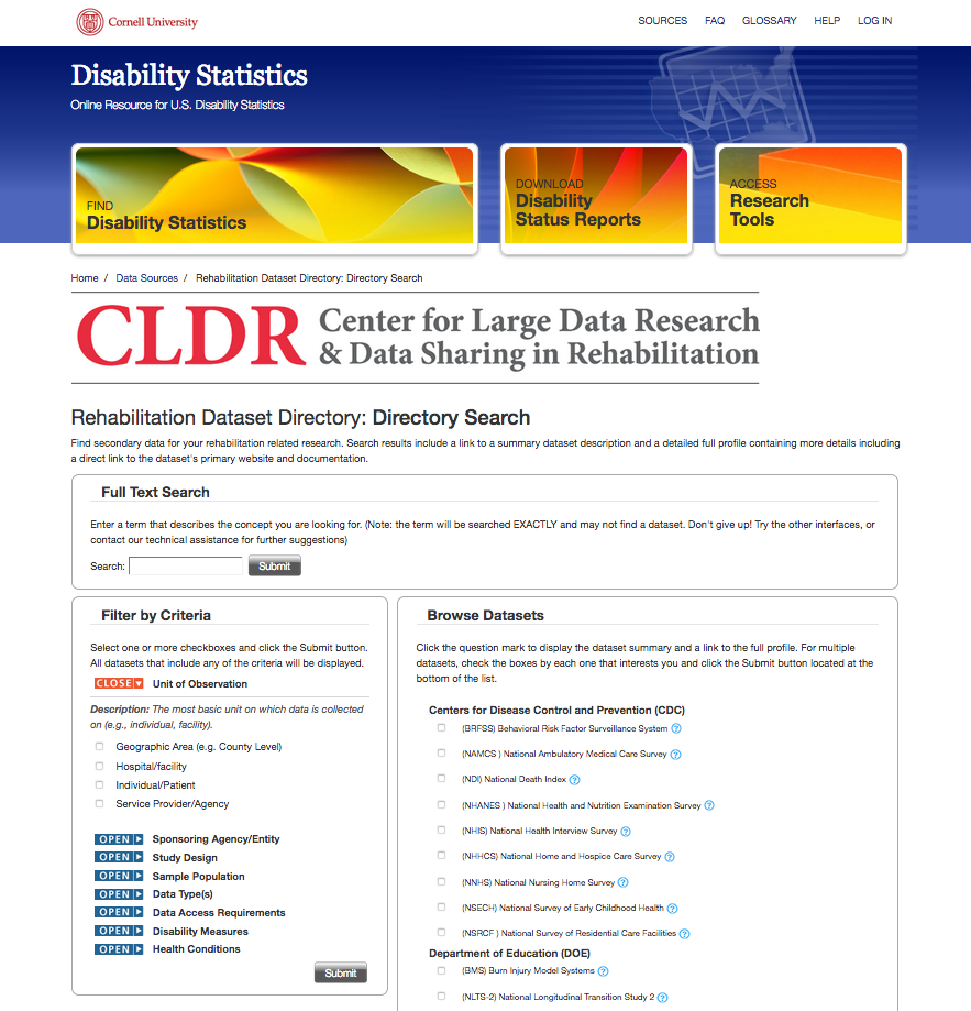 Rehabilitation Research Data Directory