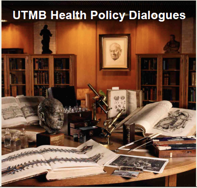 photo of medical library table with books, sculptures and instruments