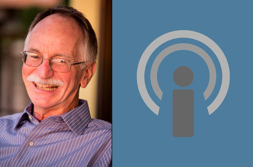 photo of man with podcast icon