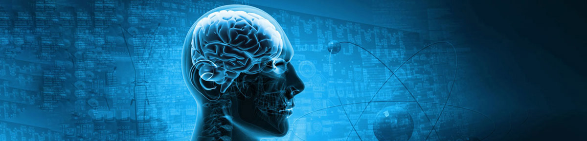 banner graphic with head, brain visible and scientific background