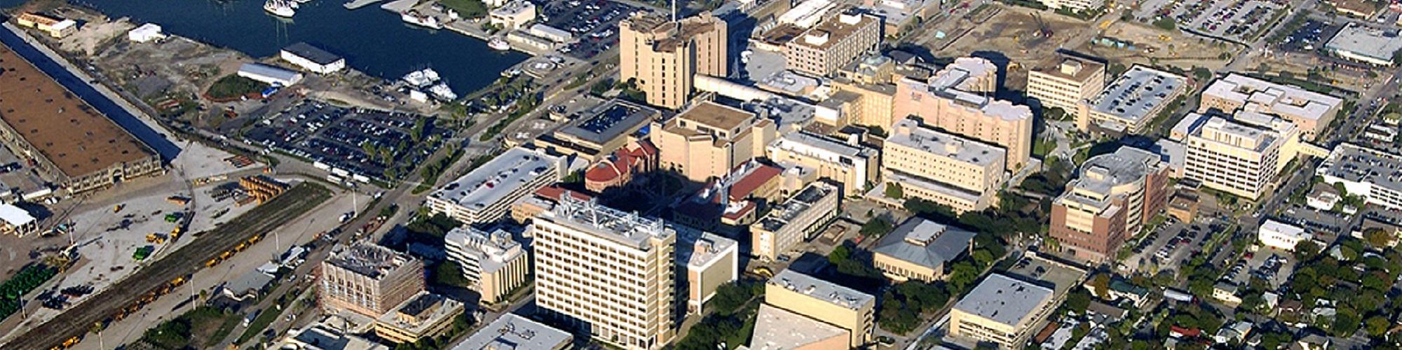 aerial photo of UTMB Galveston