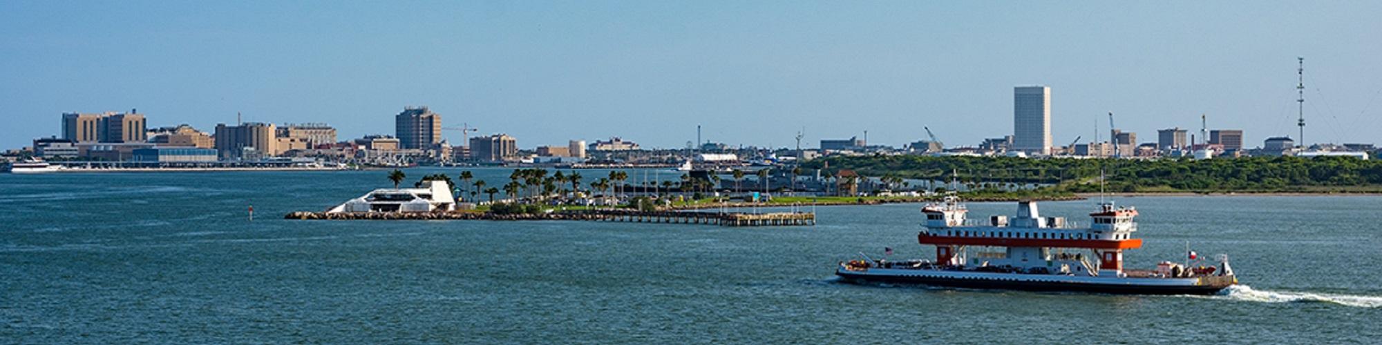 ferry boat crossing from Bolivar Peninsula to Galveston Island