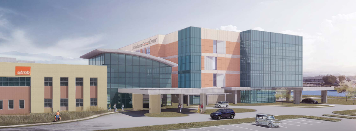 MD Anderson Cancer Center outpatient facility on UTMB Health League City Campus - artist rendering