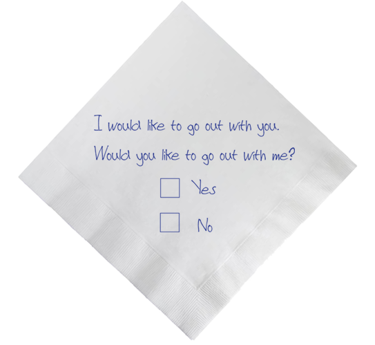 Napkin with writing: Do you like me? Check Yes or No