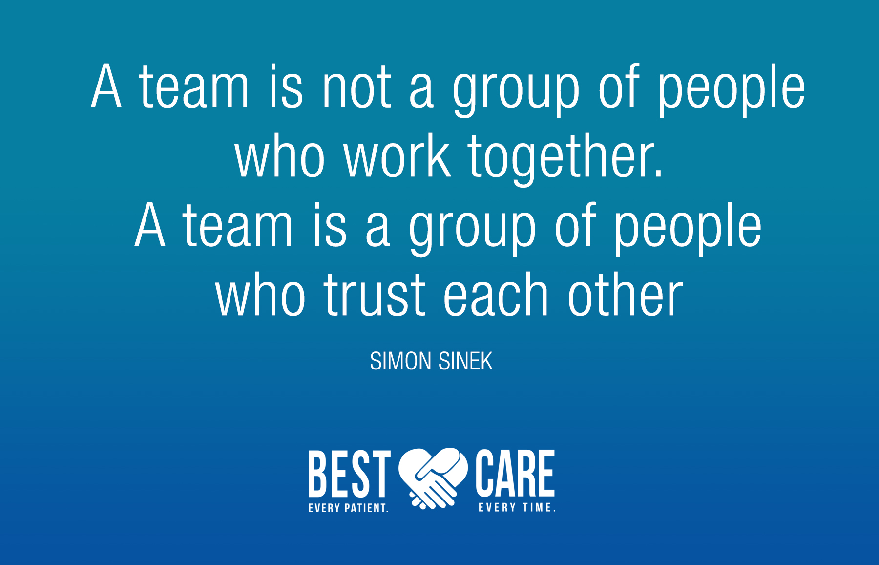 A team is not a group of people who work together. A team is a group of people who trust each other