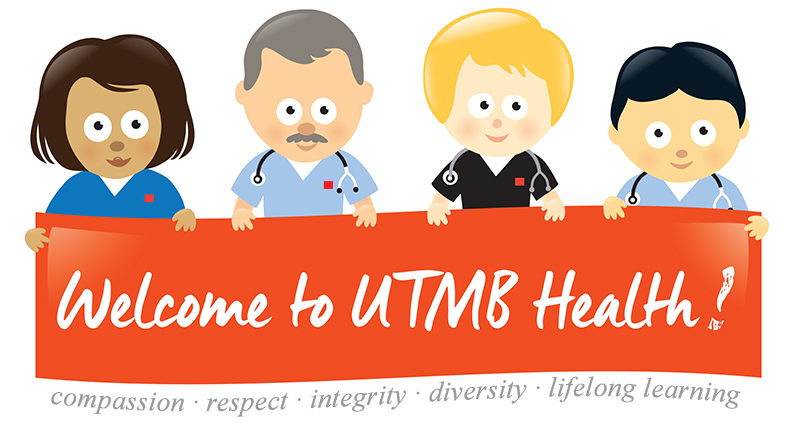 """Employees holding a """"Welcome to UTMB"""" sign"""