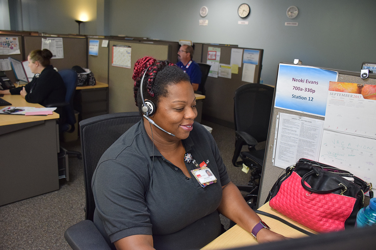 Emma Beard, a patient access specialist, answered calls throughout the storm at the League City Campus.