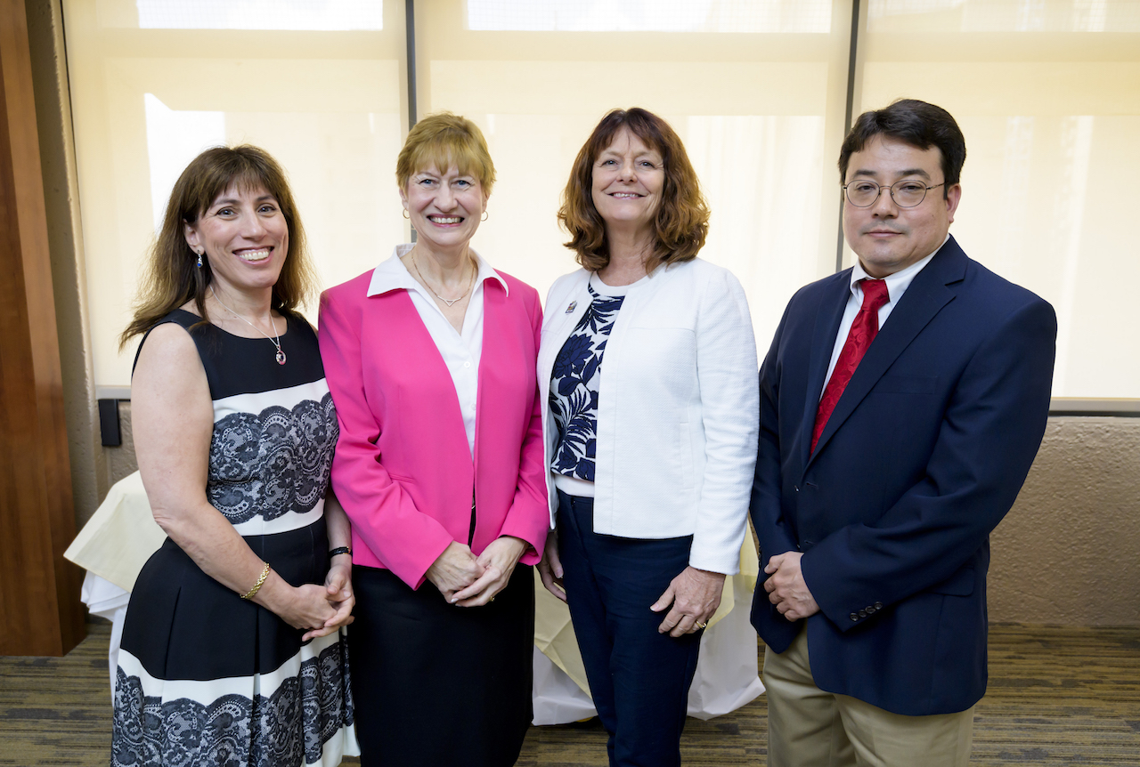 (L-R) Former AMT directors Drs. Ruth Levine, Vicki Freeman and S. Lynn Knox with current director, Dr. Bernard Karnath.