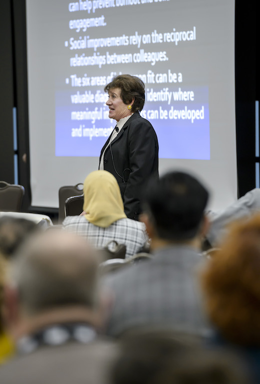 Dr. Christina Maslach talks about employee burnout as part of the 2018 Provost Lecture Series.
