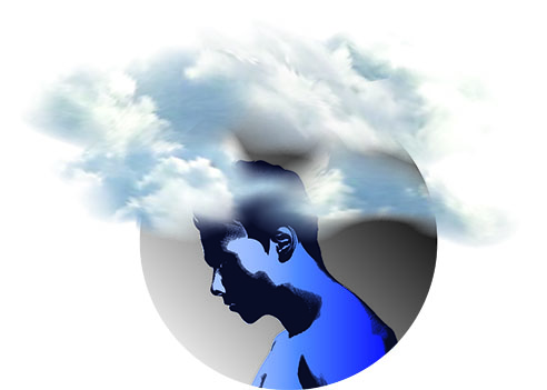 sad guy in clouds looking down