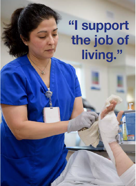Image of occupational therapist Diane Ugartechea working on the League City Campus