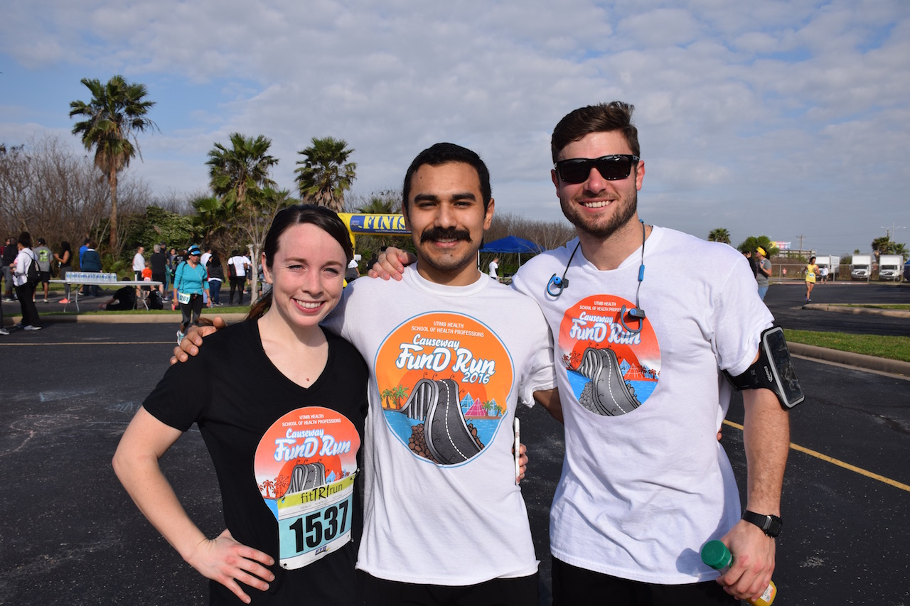 Jesus Arzua (middle), a physical therapy student in UTMB's School of Health Professions, ran this year's FunD Run to help support his fellow students.