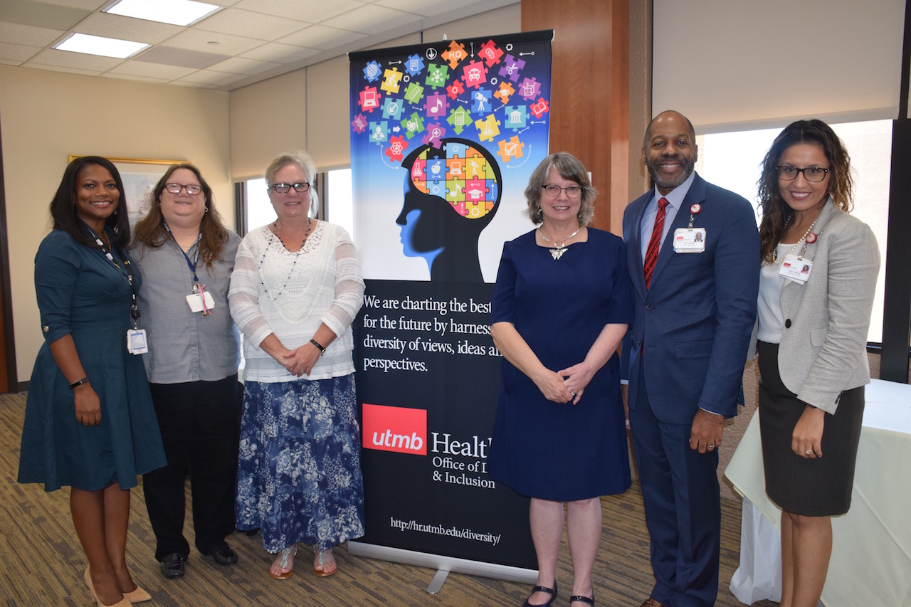 (L-R) Philesha Evans, Ritchie Adoue (co-chair), Lycia Champagne (cochair), Dr. Kimberly Sherill, Ian Barrett and Imelda Wicks.