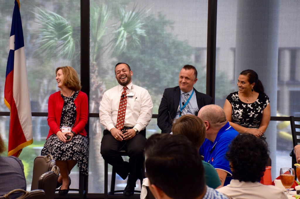 (L-R) Military veterans Tina Brown, Juan Guerrero, Anthony Curry and Lori Blackwell took part in a panel discussion moderated by Dr. David Callender