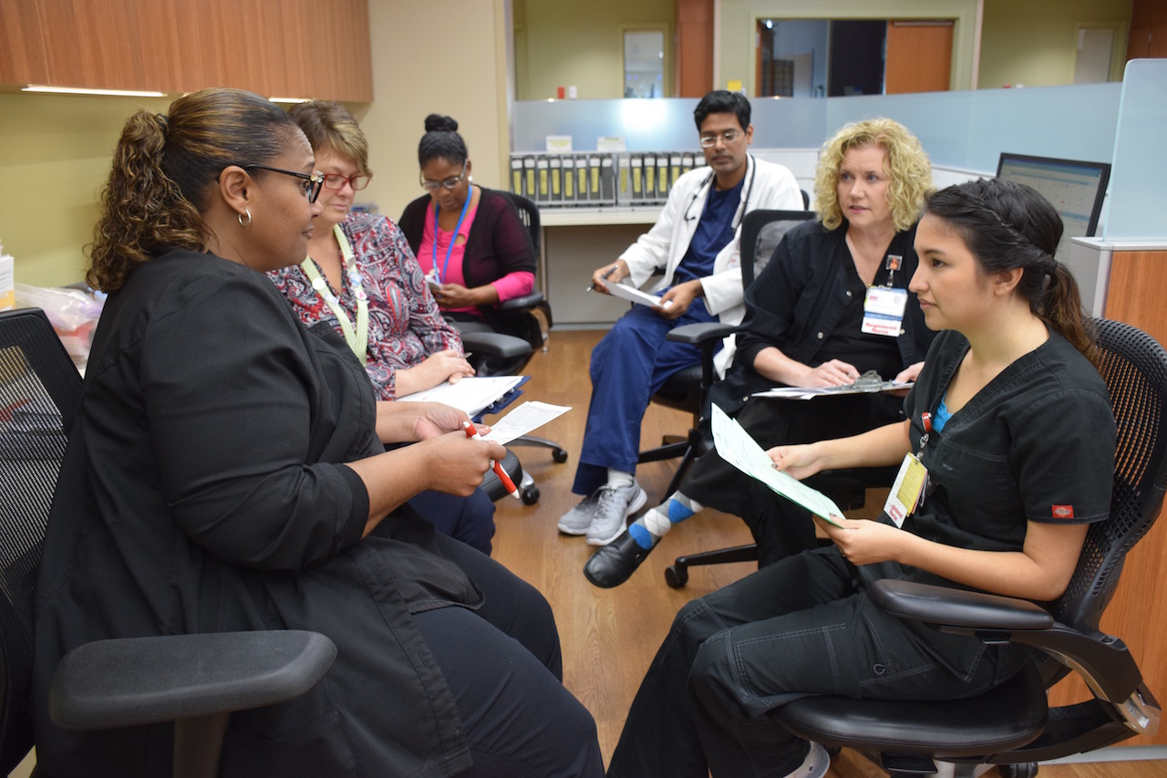 UTMB's Acute Care for Elders (ACE) Unit discusses patient care plans during their daily Progression of Care Round.