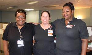 Access Center employees who worked tirelessly during Harvey (L-R) Genevieve Coleman, patient access specialist; Kaylin Barlow, nurse supervisor; and Emma Beard.