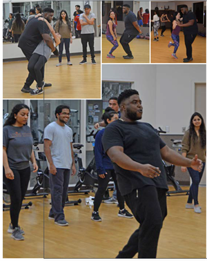 Images of Dr. Ford Ben-Okoli leading a dance class at the Alumni Field House