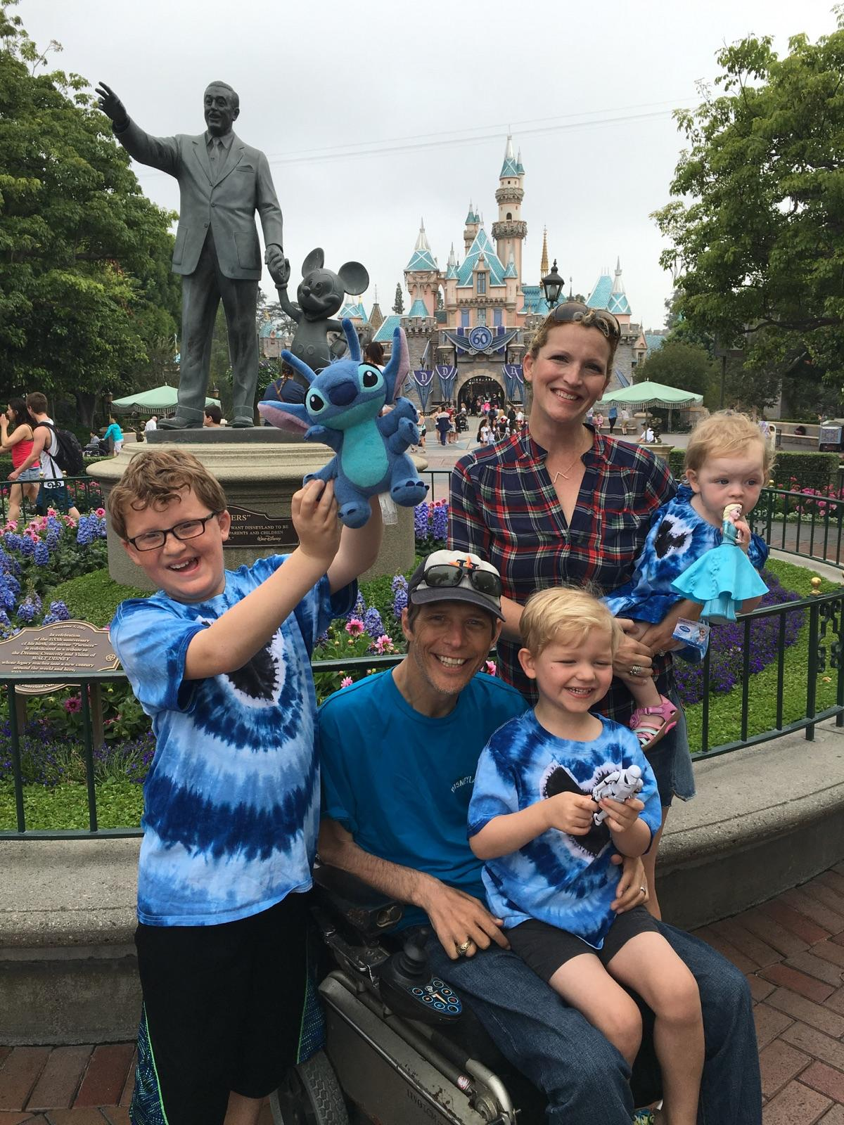 Toby and his wife, Jennifer, visit Disney World with their three children: Kieran (10), Sawyer (5) and Elizabeth (2).
