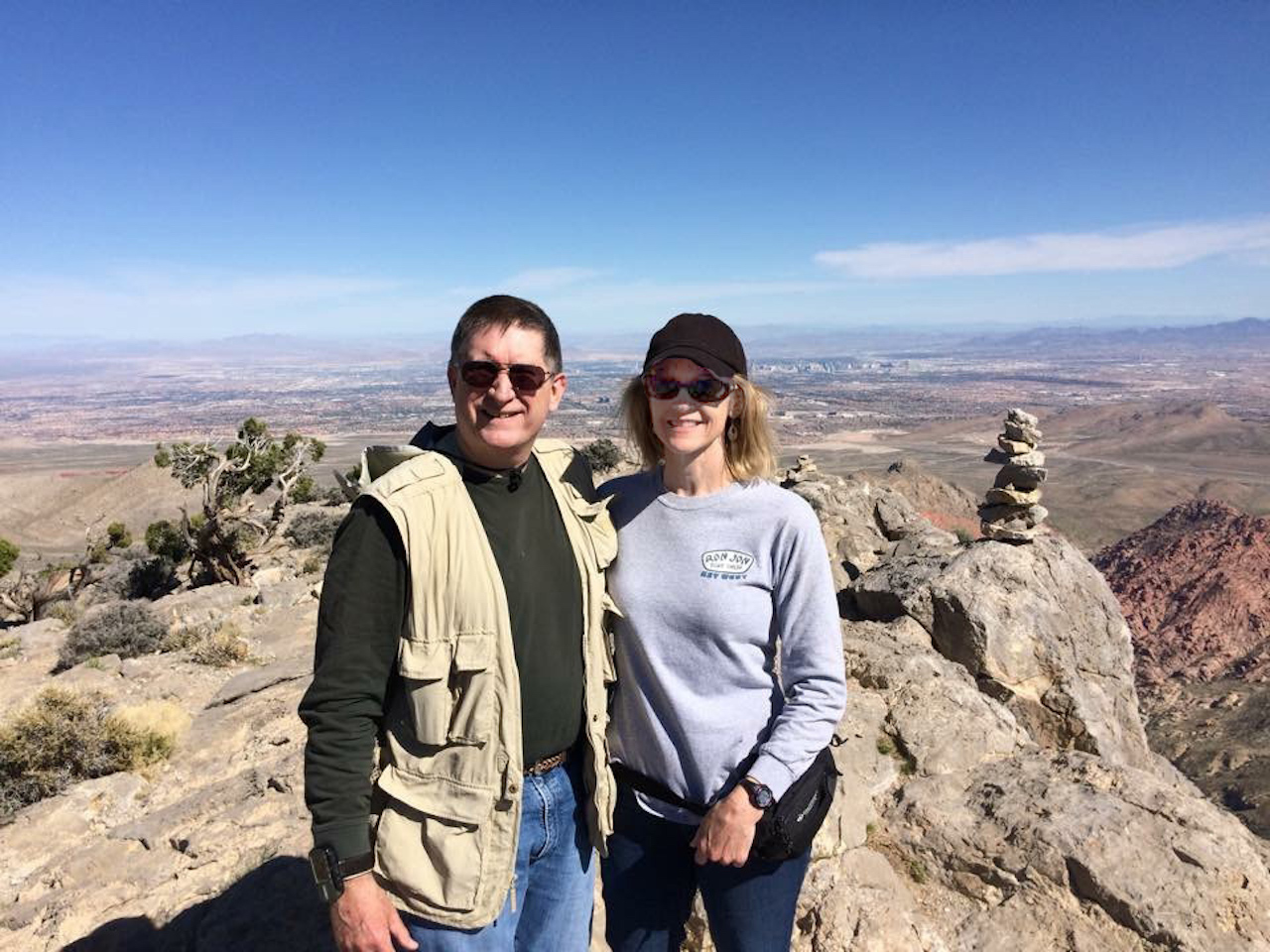 Garwood and his wife, Charlotte, at the top of Turtlehead Peak in Red Rock Canyon National Conservation Area, Las Vegas.