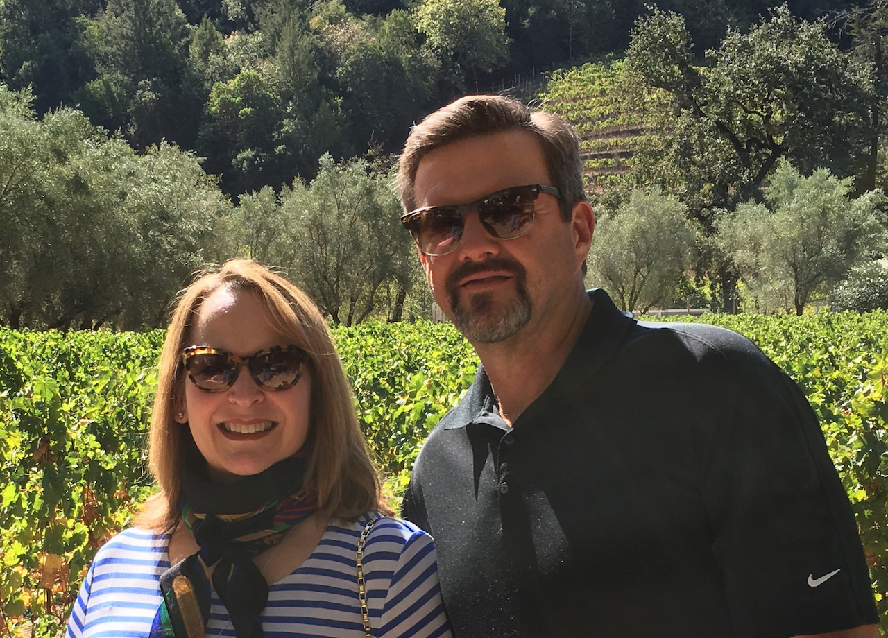 Vivian Kardow and her husband, Jack, enjoying vacation in Napa Valley, California.
