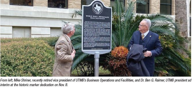 image of historical marker on utmb's galveston campus
