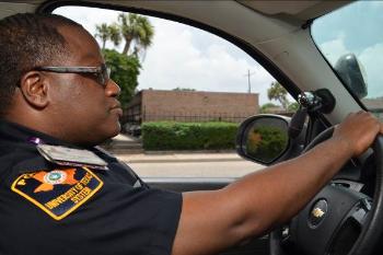 Officer Dorsey on patrol