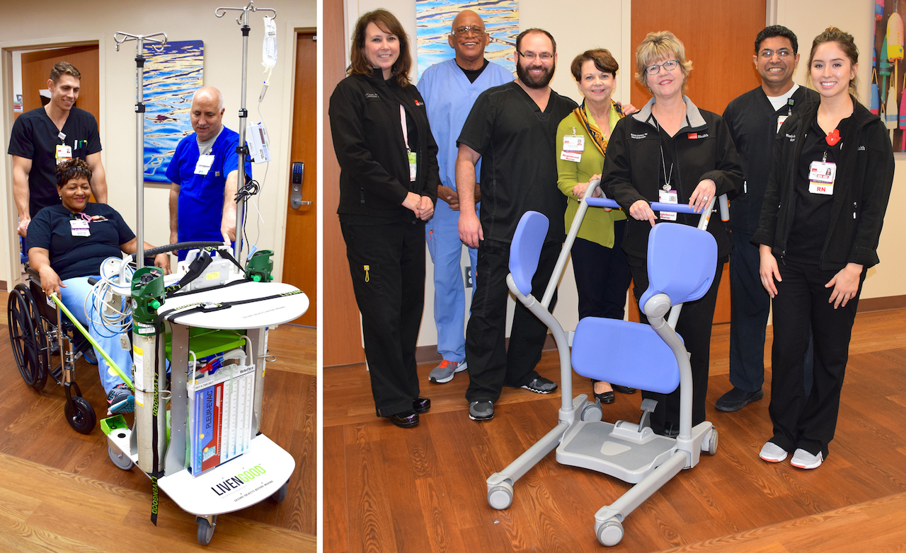 (Left) SICU employees test out the PACE device. (Right) Kathleen O'Neill (green shirt) stands next to an assistive device with Nursing/SICU emloyees