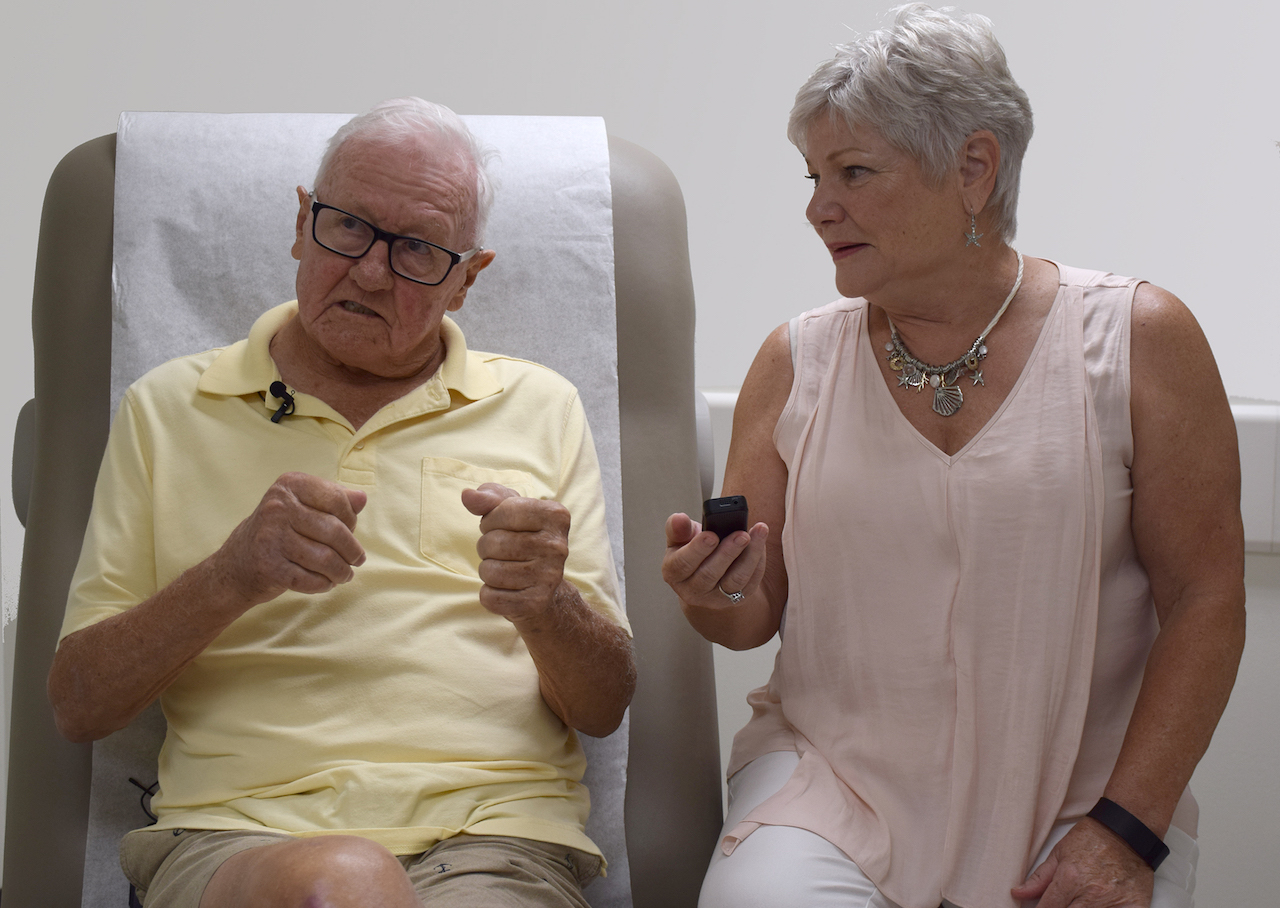 Charles and Kathy Morgan explain how they use their recorder, given to them by UTMB's Oliver Center for Patient Safety and Quality Healthcare, during Charles' appointments.