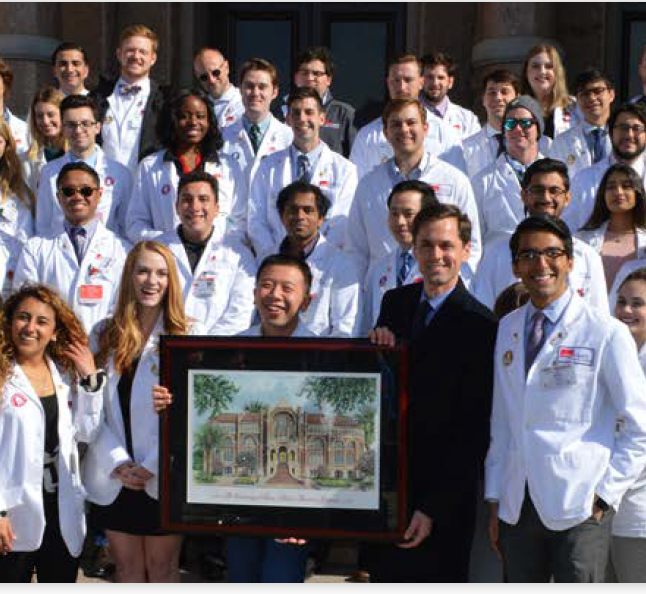 Image of School of Medicine students at the Capitol with State Rep. Mayes Middleton