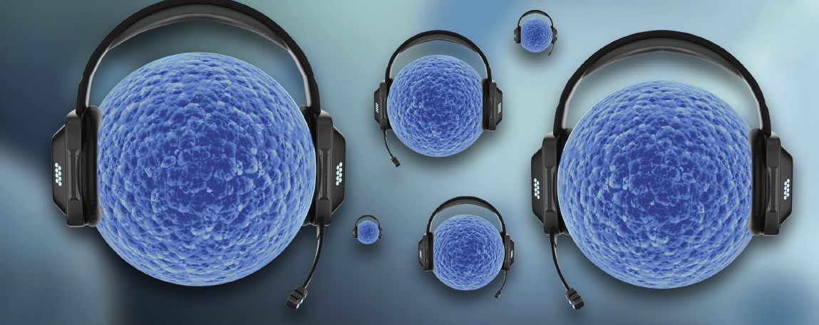 graphic of cells with headphones on communicating