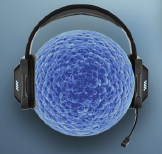 graphic of cell with headset on for communicating