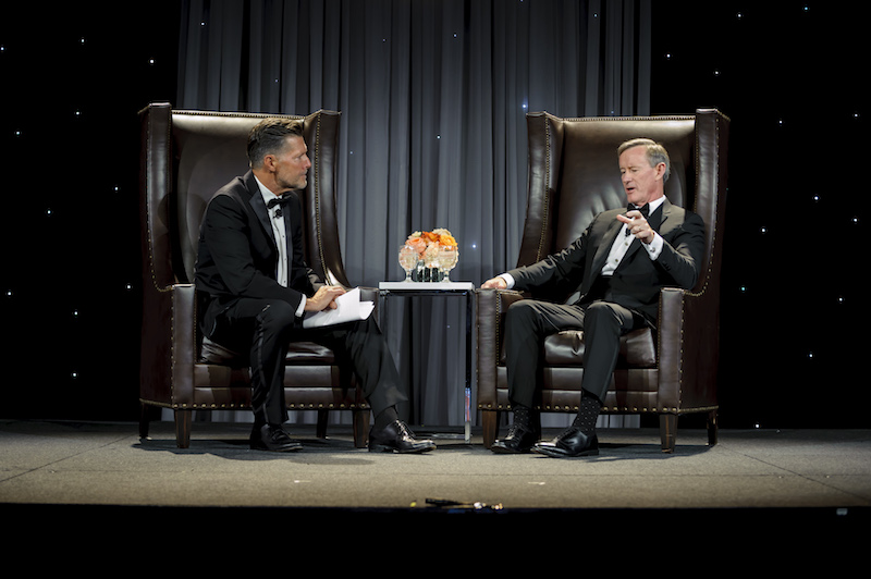 From left: Award-winning national news correspondent Stone Phillips interviews UT System Chancellor William McRaven.