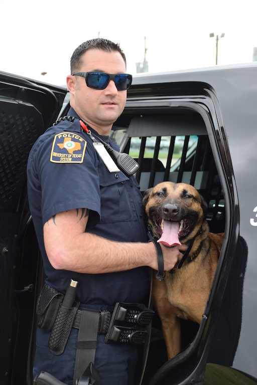 UTMB Police Canine Officer Wesley Braunsdorf and his partner, Noey.