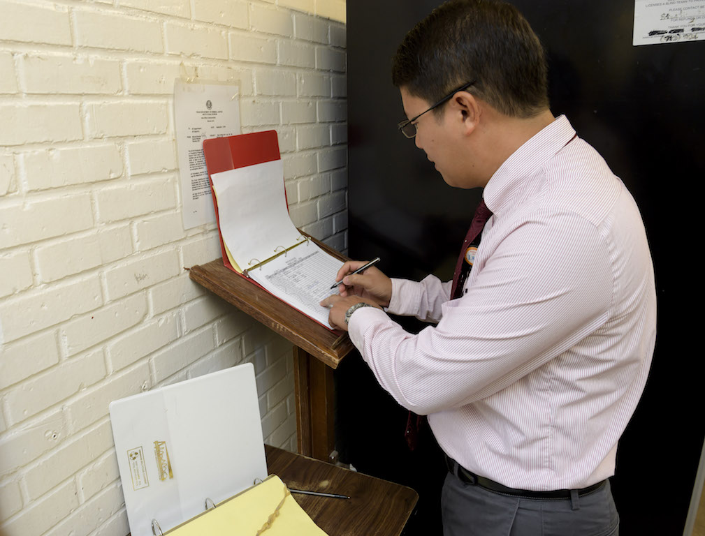 "Ong records his ""in"" and ""out"" times at the Ramsey Unit"