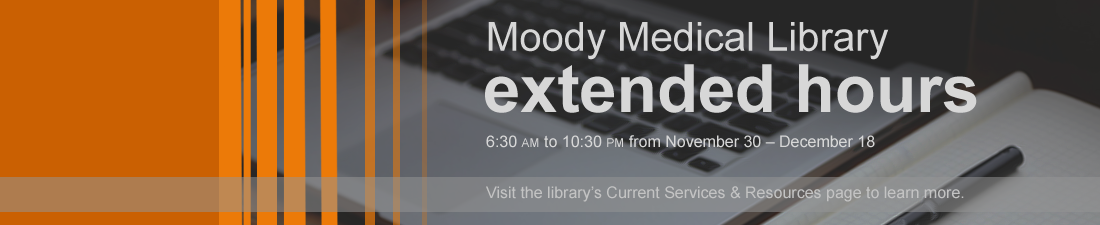 Extended Hours for Library: 6:30 am to 10:30 pm