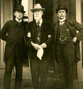 John Collins Warren, Henry Pickering Bowditch, and William Osler on Bowditch's Front Steps in Boston, 1909