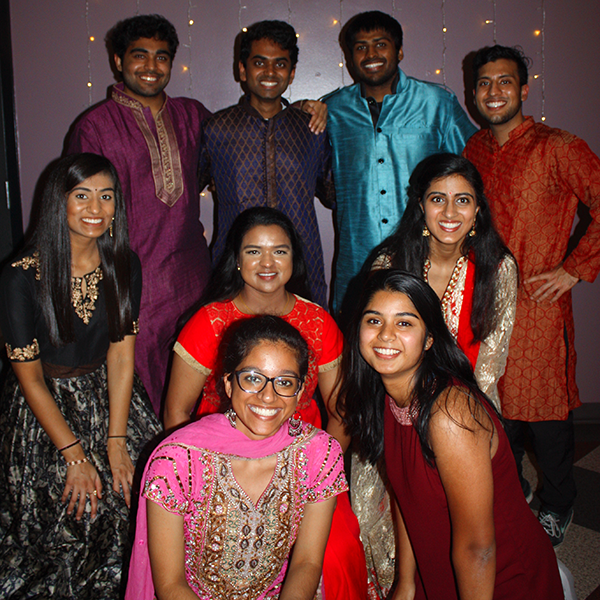 South Asian Medical Student Association students pose at a Diwali event